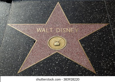 HOLLYWOOD, CALIFORNIA - February 8 2015: Walt Disney's Hollywood Walk of Fame star on February 8, 2015 in Hollywood, CA.