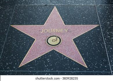 HOLLYWOOD, CALIFORNIA - February 8 2015: Journey's Hollywood Walk of Fame star on February 8, 2015 in Hollywood, CA.