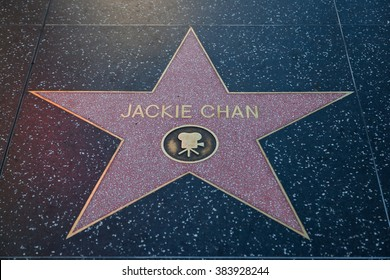 HOLLYWOOD, CALIFORNIA - February 8 2015: Jackie Chan's Hollywood Walk of Fame star on February 8, 2015 in Hollywood, CA.