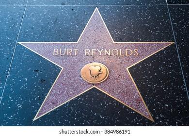 HOLLYWOOD, CALIFORNIA - February 8 2015: Burt Reynolds' Hollywood Walk of Fame star on February 8, 2015 in Hollywood, CA.