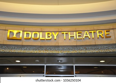 Hollywood, California - January 12, 2018: Sign of Dolby Theatre in the entrance of the building.