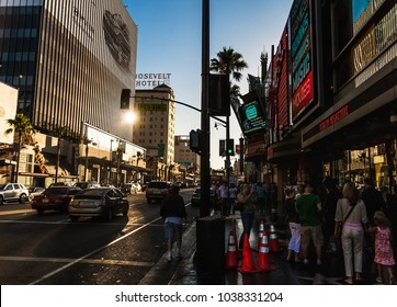 HOLLYWOOD, CALIFORNIA - JULY 19, 2007: The Hollywood Boulevard crowded with tourists near the TCL Grauman's Chinese Theatre in summer, Los Angeles, California.