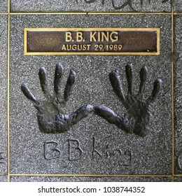 HOLLYWOOD, CALIFORNIA - JULY 19, 2007: Handprints of the great blues guitarist and singer B.B. KING on the Hollywood Rockwalk located at the Guitar Center store on Sunset Boulevard, Hollywood.