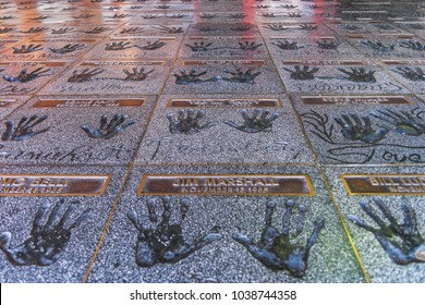 HOLLYWOOD, CALIFORNIA - JULY 19, 2007: The Hollywood Rockwalk on the patio of the Guitar Center store on Sunset Boulevard with handprints of numerous rock musicians and guitar greats, Hollywood.