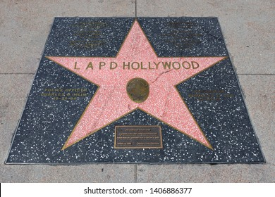 Hollywood, California – May 20, 2019: Star of LAPD LOS ANGELES POLICE DEPARTMENT HOLLYWOOD on Hollywood Walk of Fame in Hollywood Boulevard, Los Angeles, California