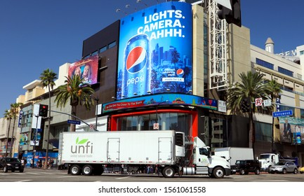 Hollywood, California - October 10, 2019: UNFI United Natural Foods truck in the corner of Hollywood Boulevard and Highland Avenue
