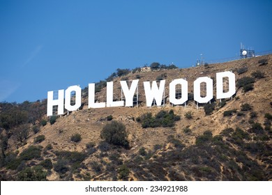 HOLLYWOOD, CALIFORNIA - OCTOBER 14: The world famous landmark Hollywood Sign on October 14, 2014 in Hollywood, California. It was created as an advertisement in 1923.