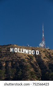 HOLLYWOOD, CALIFORNIA - October 27, 2017 - Hollywood sign on Santa Monica mountains in Los Angeles. Originally created as advertisement for real estate development.