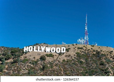 HOLLYWOOD, CALIFORNIA - OCTOBER 8, 2011 - Hollywood sign on Santa Monica mountains in Los Angeles October 8, 2011 in Los Angeles, USA.Originally created as advertisement for real estate development.