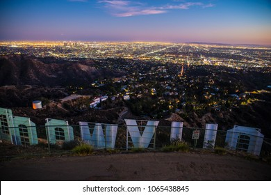 HOLLYWOOD, CALIFORNIA - SEPTEMBER 25, 2016: Hollywood sign and Los Angeles cityscape.Hollywood sign is overlooking Los Angeles and was created in 1923
