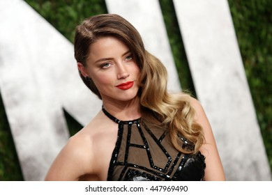 Hollywood, California, USA; February 24, 2013; Amber Heard attends the 2013 Vanity Fair Oscar Party at the Sunset Towers in Hollywood, California.