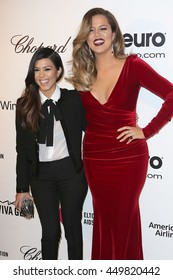 Hollywood, California, USA; March 2, 2014; Kourtney and Khloe Kardashian arrive to Elton John AIDS Foundation Presents 22nd Academy Award Viewing Party.