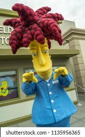 Hollywood, California, USA - May 2016: Universal Studios Theme Park, Sideshow Bob in Simpson Land
