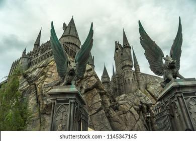 Hollywood, California, USA - May 2016: Universal Studios Theme Park, Hogwarts Castle