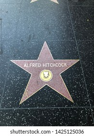 Hollywood, California / Usa - May 26 2019: Alfred Hitchcock, Los Angeles, Hollywood walk of fame