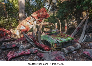Hollywood, California, USA - October 28, 2018: Scene from the movie 'Jurassic Park' arranged in Universal Studios Hollywood and shown to tourists during the Studio Tour.