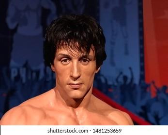 Hollywood, California/USA. August 3, 2019. Rocky Balboa wax figure headshot at Madame Tussaud's wax museum in Hollywood.