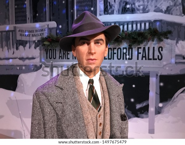 Hollywood, California/USA. August 3rd, 2019. Jimmy Stewart figure as George Bailey in It's a Wonderful Life at Madame Tussaud's in Hollywood.