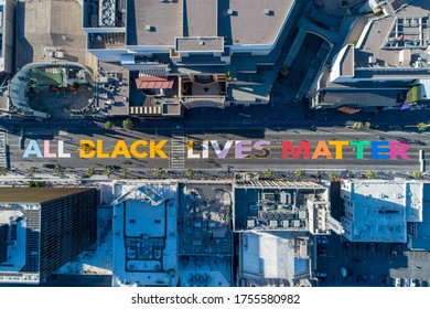 Hollywood, California/USA - June 13, 2020: All Black Lives Matter is painted on Hollywood Boulevard near the Walk of Fame in honor of black LGBTQ people that have been killed by the police.