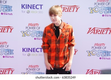 HOLLYWOOD, CA-OCTOBER 24: Singer Justin Bieber arrives at Variety's 4th Annual Power of Youth event at Paramount Studios on October 24, 2010 in Hollywood, California.