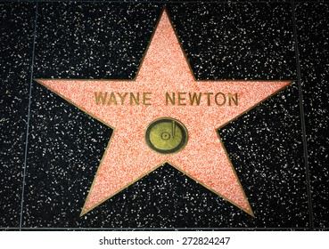 HOLLYWOOD, CA/USA - APRIL 18, 2015 Wayne Newton star on the Hollywood Walk of Fame. The Hollywood Walk of Fame is made up of brass stars embedded in the sidewalks on Hollywood Blvd.