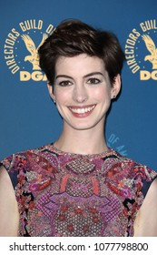 Hollywood, CA/USA; February 2, 2013; Anne Hathaway poses backstage at the 65th Annual DGA Awards in Hollywood, California.