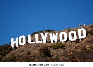 HOLLYWOOD, CA/USA - MARCH 17 2007: Hollywood sign celebrates its 90th anniversary in September 2013. Located on Mount Lee in Hollywood Hills in Los Angeles, its the worldwide symbol of entertainment