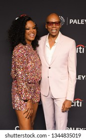 """Hollywood, CA/USA - March 17, 2019: Rupaul Charles and Aisha Tyler attend the PaleyFest  """"Rupaul's Drag Race"""" event at the Dolby Theater."""