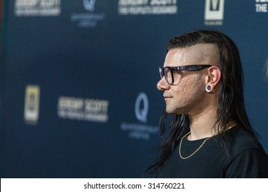 "HOLLYWOOD, CA/USA -  SEPTEMBER  08  2015: Skrillex attends the World Premiere of ""Jeremy Scott: The People's Designer"" at the TCL Chinese Theatre on Tuesday, September 8, 2015, in Hollywood, Calif."