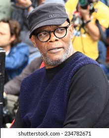 HOLLYWOOD - DECEMBER 1, 2014: Actor Samuel L. Jackson attends Walk of Fame ceremony where Christoph Waltz receives a star December 1, 2014 Hollywood, CA.