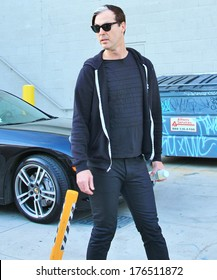 HOLLYWOOD - FEBRUARY 12, 2014: Fitz and the Tantrums band members, Michael Fitzpatrick and Noelle Scaggs head to the Jimmy Kimmel concert stage, February 12, 2014.