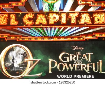 """HOLLYWOOD - FEBRUARY 13, 2013: The marquee at the El Capitan Theatre announcing the world premiere of """"Oz: The Great and Powerful"""" February 13, 2013 Hollywood, CA"""