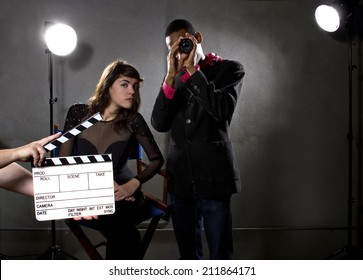 Hollywood film industry producers or directors in a sound stage