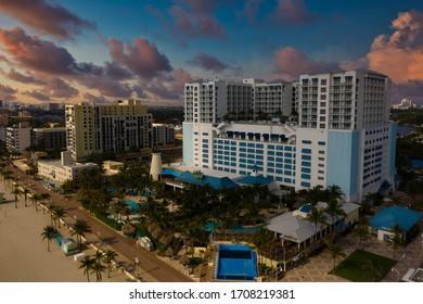 HOLLYWOOD, FL, USA - APRIL 18, 2020: Margaritaville Hotel Hollywood Beach FL