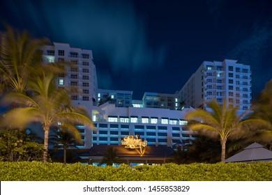 HOLLYWOOD, FL, USA - JULY 18, 2019: Night photo Hollywood Beach Margaritaville Resort