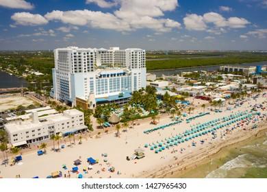 HOLLYWOOD, FL, USA - JUNE 11,Aerial image of the Margaritaville Resort Hollywood Beach Florida