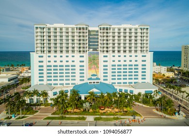 HOLLYWOOD, FL, USA - MAY 15, 2018: Aerial drone image of the Margaritaville Hollywood Beach Resort Florida
