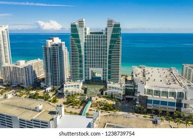 HOLLYWOOD, FL, USA - NOVEMBER 10, 2018: Aerial photo Westin Diplomat Resort and Spa Hollywood Beach FL USA
