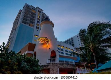HOLLYWOOD, FL, USA - OCTOBER 19, 2019: Twilight photo Margaritaville Hollywood Beach Resort