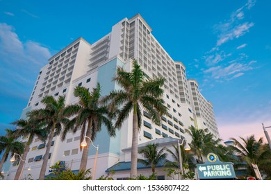 HOLLYWOOD, FL, USA - OCTOBER 19, 2019: Margaritaville Hollywood Beach Resort on twilight blue sky