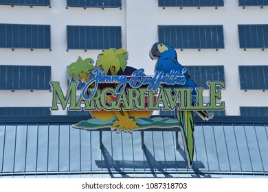 Hollywood, Florida - April 19, 2018:  Margaritaville Resort Hotel sign as seen from the boardwalk in Hollywood, Florida on this date.