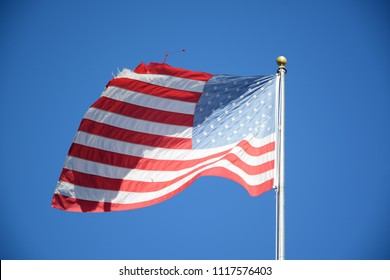 Hollywood, Florida - December, 2, 2017: Photo of American flag taken in Downtown Hollywood, Florida