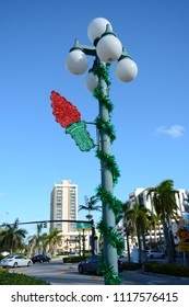 Hollywood, Florida - December, 2, 2017: Street view and Christmas decoration in Downtown Hollywood, Florida