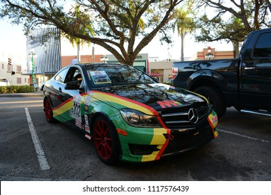 Hollywood, Florida - December, 2, 2017: Street view in Downtown Hollywood, Florida