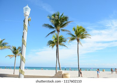 Hollywood, Florida - December, 24, 2017: Beautiful Hollywood beach with white sand and palm trees next to the blue ocean before Christmas, Florida