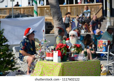 Hollywood, Florida - December, 24, 2017: Beautiful Hollywood beach before Christmas with white sand next to the blue ocean, Florida