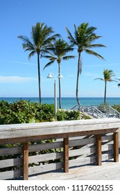 Hollywood, Florida - December, 24, 2017: Beautiful Hollywood beach with white sand next to the blue ocean, Florida