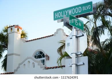 Hollywood, Florida - December, 3, 2017: Street sign on Hollywood boulevard, Florida