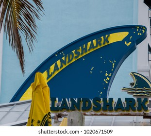 Hollywood, Florida - January 10, 2018: This sign for the Landshark Bar was seen by the pool area at the new Margaritaville Resort in Hollywood, Florida on this date.