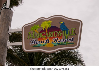 Hollywood, Florida - January 10, 2018: This sign was seen by the pool area at the new Margaritaville Resort in Hollywood, Florida on this date.